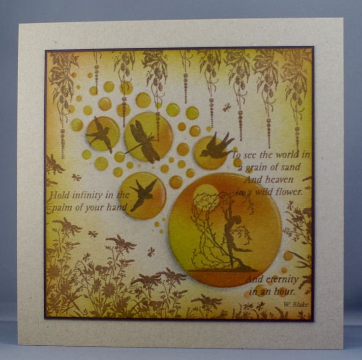 Clarity stamps and Jo's Bubbles stencil on kraft card.