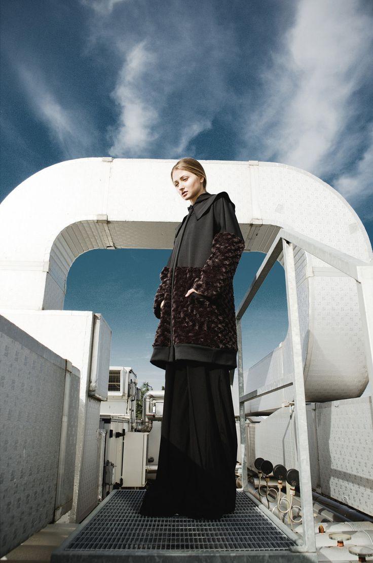 Aroma30 neoprene and techno-fur coat, Photo Davide Costanza, Styling Federico Barrazzo