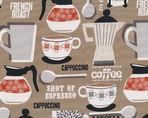 """Patchworkstoff """"French Roast"""" mit Kaffee-Geschirr, beigebraun-terracotta"""