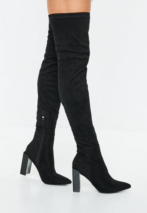 42bbadeeed8c Black Slouchy Over The Knee Boots   Missguided   Fashion   Suede ...