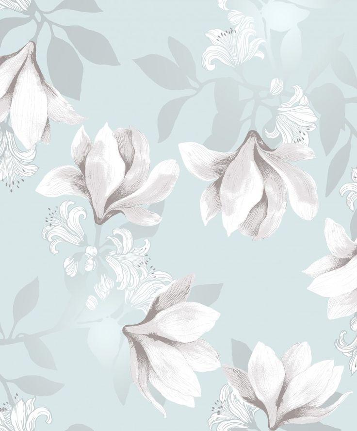 Vallila wallpaper: Magnolia tapetti aqua