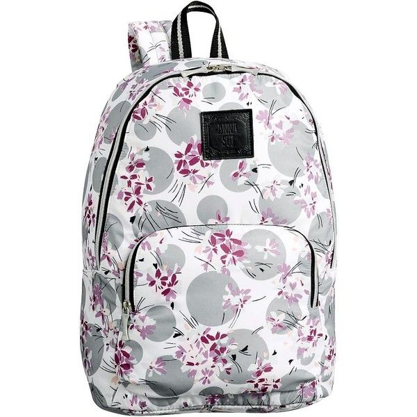 PB Teen Anna Sui Flower Dot Backpack (215 BRL) ❤ liked on Polyvore featuring bags, backpacks, zippered travel bags, polka dot backpack, travel bag, water resistant rucksack and dot backpack