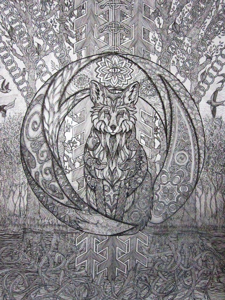 Line fox  fantasy art drawing
