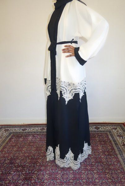 Cream and Black Lace Open Abaya                                                                                                                                                                                 More