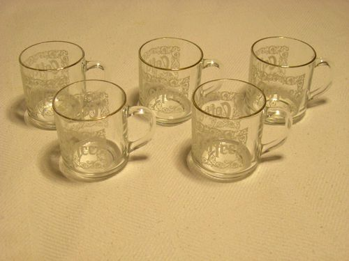 Clear Glass Coffee Mugs Set of 5 VINTAGE Gold Rimmed France Raised Lettering GUC