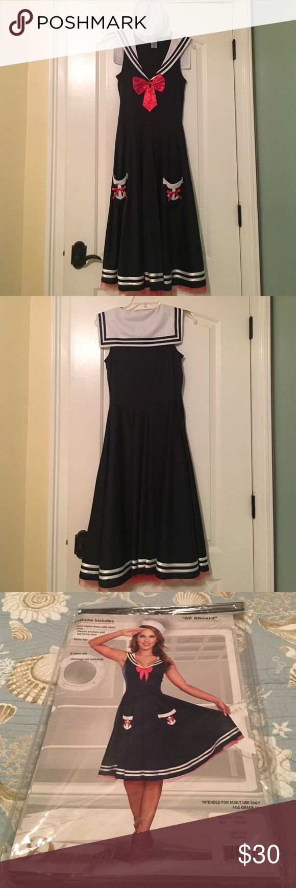 Sailor Halloween Costume Worn once for last Halloween 👻 great condition, no defects. 100% polyester. Size Medium. Dresses Midi