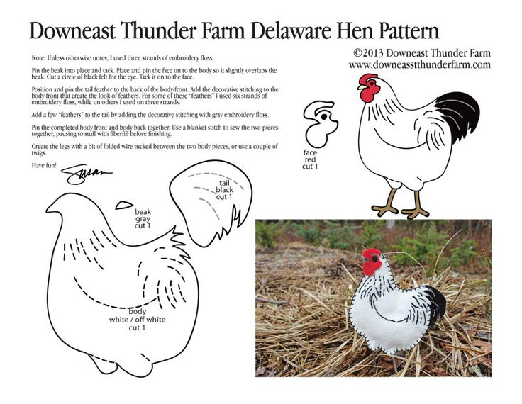 """Inspired by some of our latest chick additions to the farmand a rainy day,here's a Delaware hen felt bird. To download this pattern, right click here and select """"Save target as""""…"""