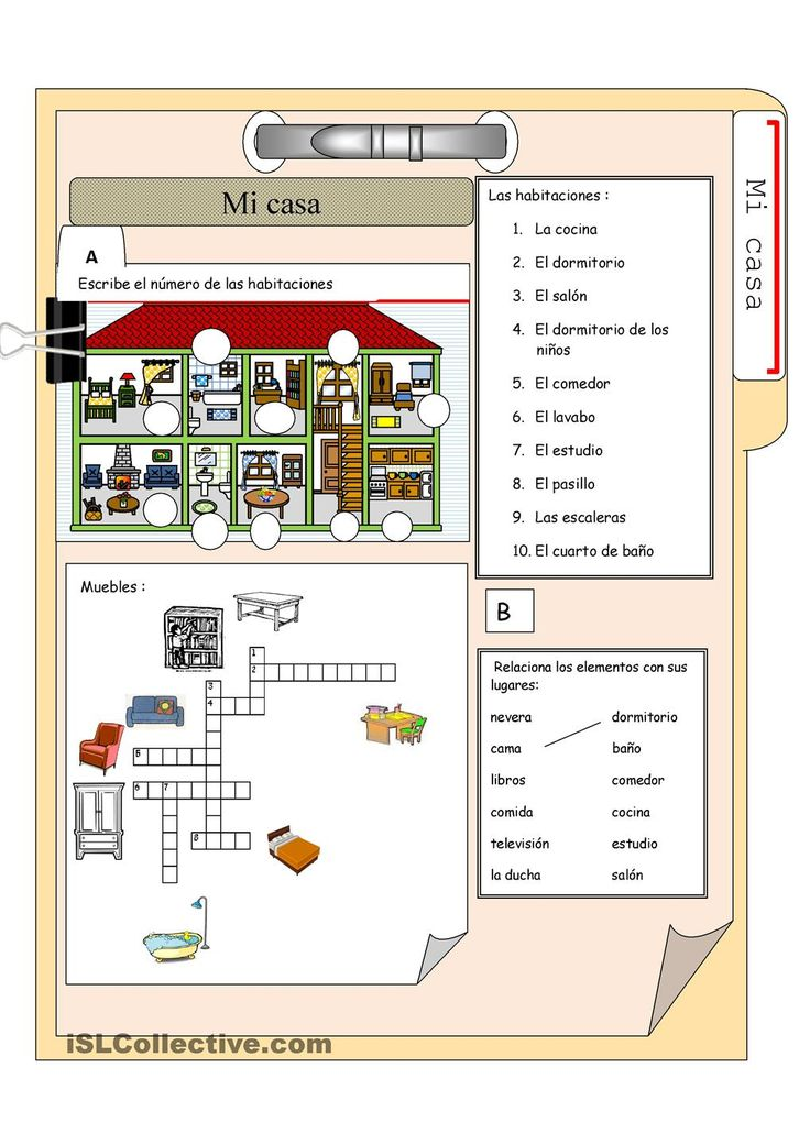 Vocabulary for the house and furniture in Spanish. Free account needed to download.