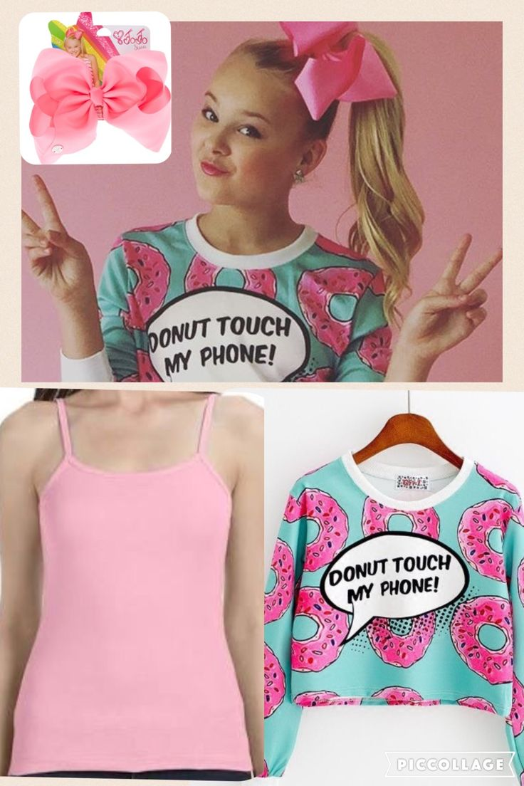"""Long-sleeve """"Donut touch my phone"""" shirt: https://syndromestore.com/collections/phone-accessories/products/donut-touch-my-phone-long-sleeve-crop-top-sd01217?variant=20593600773  Bow: http://www.claires.com/us/products/jojo-siwa-large-pink-signature-hair-bow-39542  Tank top: http://www.clothesoutsale.com/ladies-sheer-tank-anvil-325.html"""