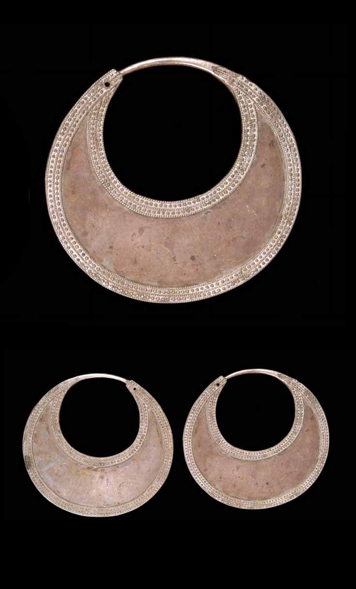 Caucasus - possibly Dagestan | Pair of earrings from the Avar women; silver (silver toned metal?). // ©Quai Branly Museum. 71.1946.83.123.1-2 D