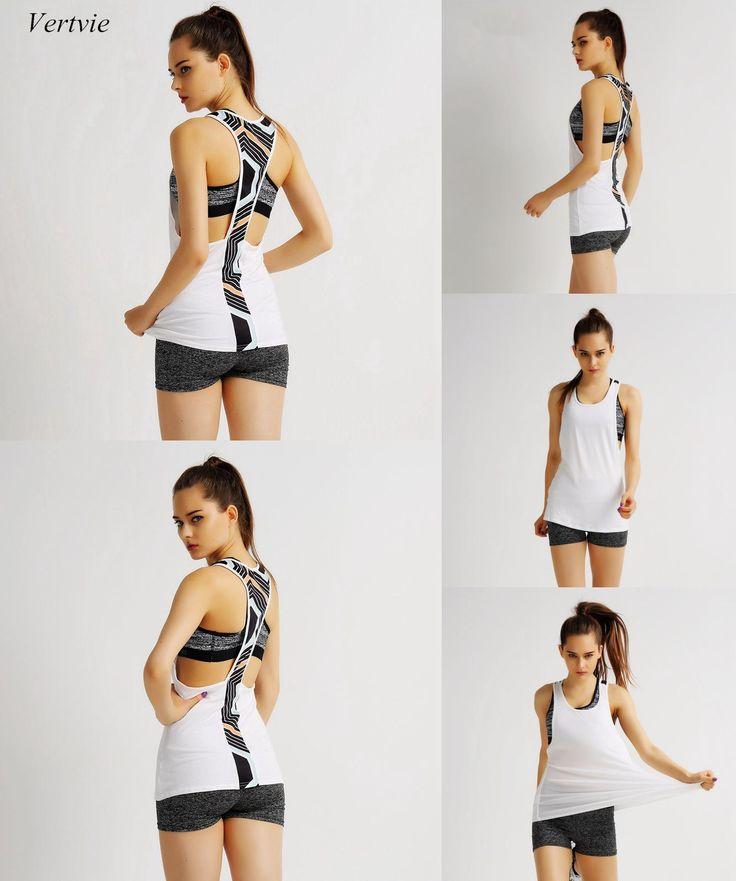 [Visit to Buy] Vertvie Women Hot Yoga Shirts Sexy Sleeveless Backless Patchwork Round Neck Sports Vest Quick dry Running Gym Fitness Yoga Shirt #Advertisement