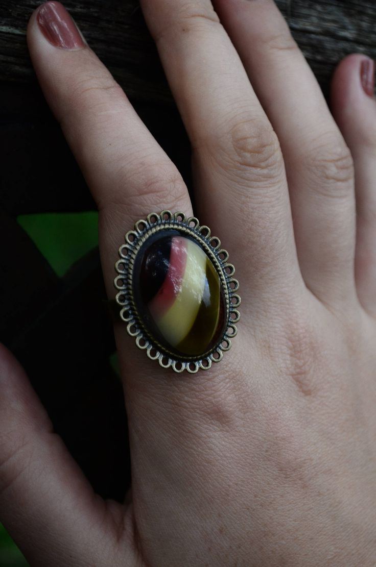 Vintage Cameo Ring | Boho Chic | Amber Jewel | Adjustable Ring | Upcycled | 70's Fashion | Sustainable Fashion by GhostandLolaBoutique on Etsy