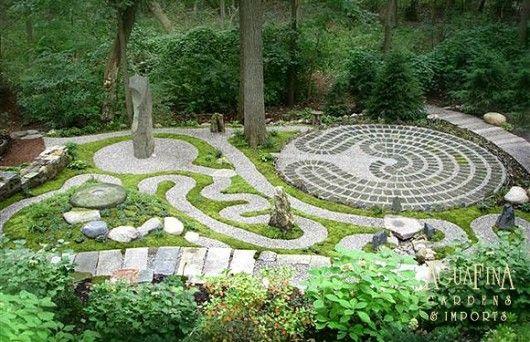 Spiritual Labyrinth Garden with Meditation Spot by AguaFina