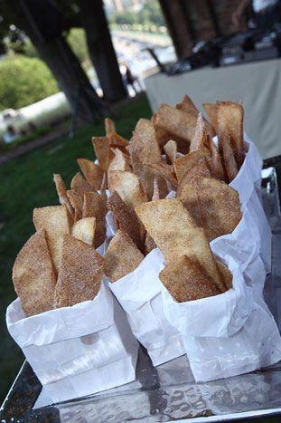 Sopapillas in wax bags. Dessert idea for parties