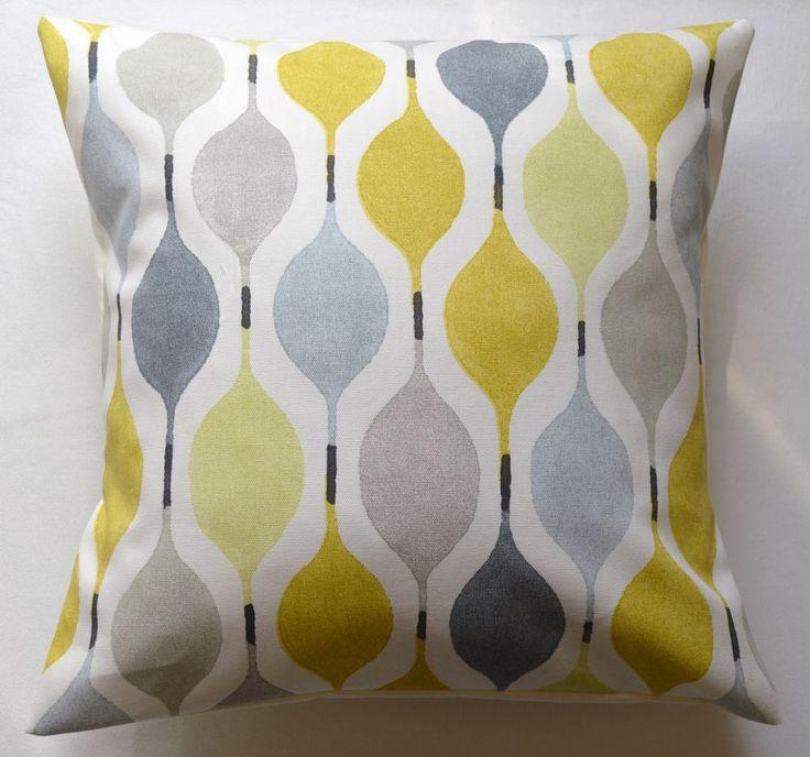 "16"" New Retro Designer 'Verve Mimosa' yellow fabric cushion cover"