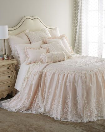I am so in love with this bedding.  The lace coverlet is to die for!  Villa Rosa & Queen Anne Lace Bedding by Sweet Dreams at Neiman Marcus.