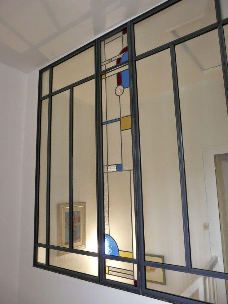 des id es en verre vitraux art d co dans une verri re d coration verre art d co verriere. Black Bedroom Furniture Sets. Home Design Ideas