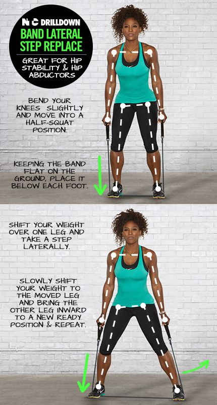 Serena Williams NTC workout - band lateral step replace.