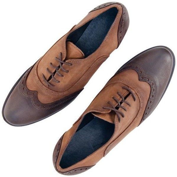 PAOLO IANTORNO Ann Brown N' Beige Spectator Wingtip Oxford Lace Up... ($179) ❤ liked on Polyvore featuring shoes, oxfords, brown oxford shoes, beige oxfords, brown brogues, brown leather oxfords and wingtip brogues