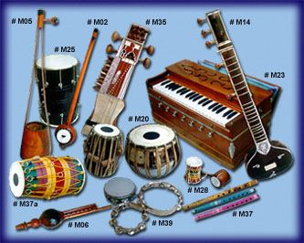 Musical instruments from India. Some of the instruments shown here are sitar, sarod, sarangi, flute, shehnai, tabla, pakhawaj, mridangam and harmonium.