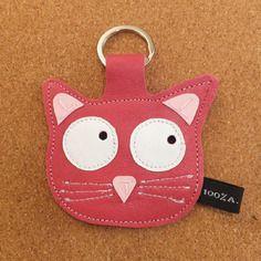 Porte clé chat en cuir rose - fait main