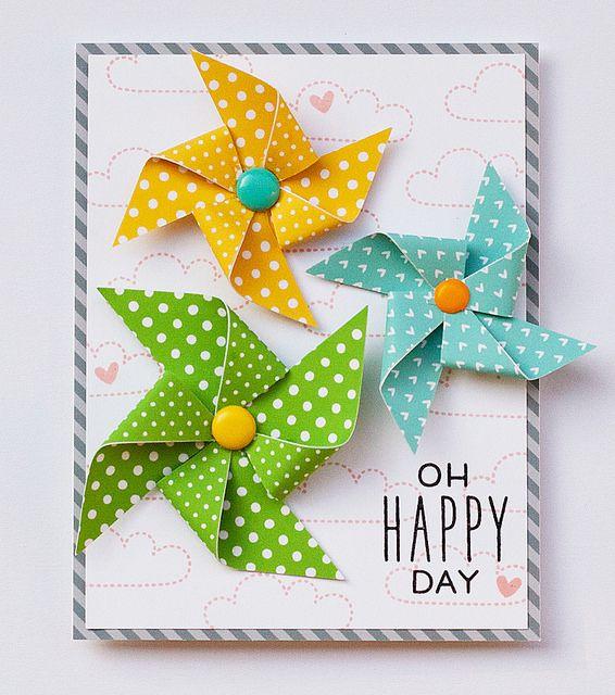 Lawn Fawn - Hello Sunshine, Let's Polka 6x6 paper _ cute pinwheel card by Linda for Lawn Fawn Design Team