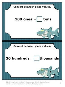 FREE Download Place Value Task Cards 4th Grade Common Core Math Games: You will receive 10 converting place value task cards to use in your 4th or 5th grade math centers and stations as a review, test prep or as a formative assessment. Task cards are a great alternative to worksheets.  Students could play SCOOT, have a scavenger hunt, or play other math games.  CCSS.Math.Content.4.NBT.A.1 CCSS.Math.Content.5.NBT.A.1