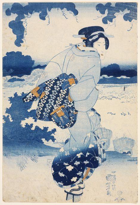 Utagawa Kuniyoshi Japanese, 1797-1861 Possibly Yoshinoya Katsugor, associated artist/maker Japanese Beauty on a riverbank (Kawagishi ni bijin), ca. 1844 Polychrome woodblock print