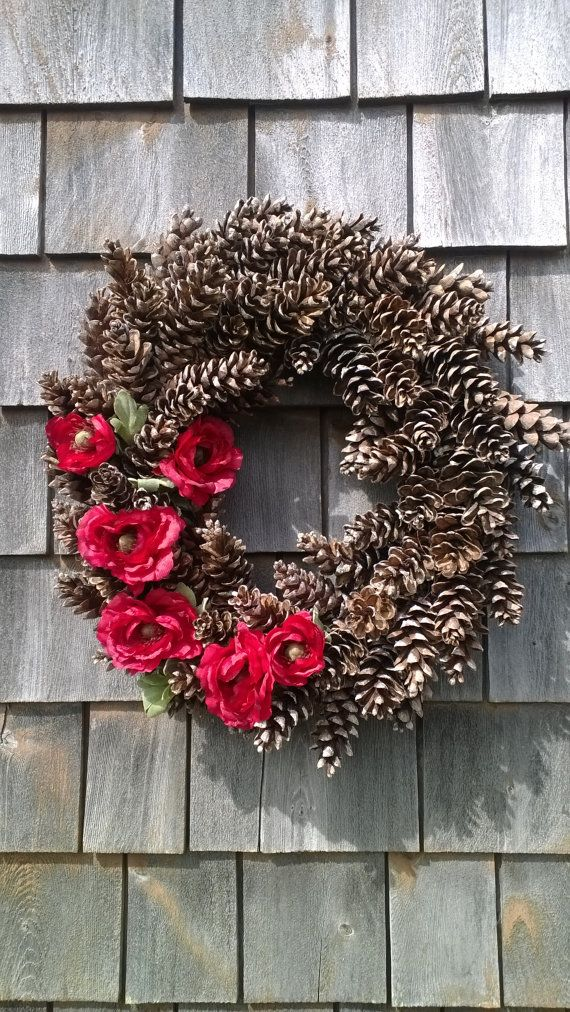Pinecone Wreath Accented With Renunculus Made In By Scarletsmile