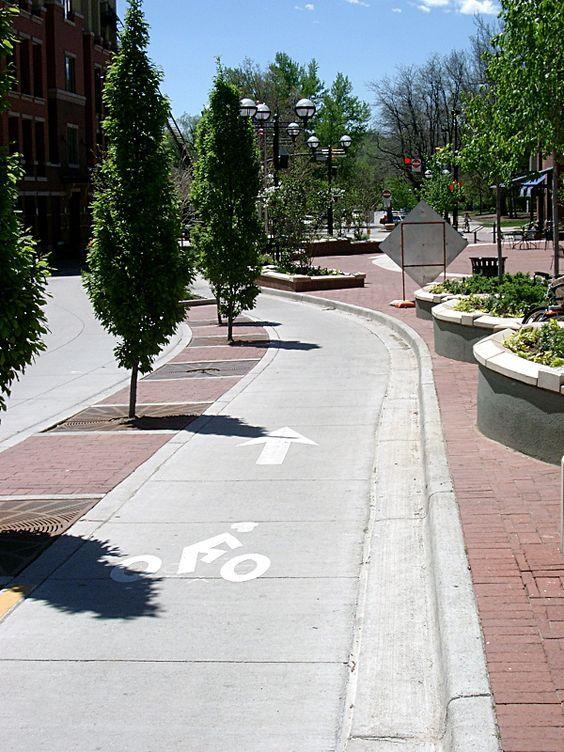 Tree-protected bike lane, Boulder CO. Click image for 19 bike lane protection ideas via People For Bikes, and visit the slowottawa.ca boards >> http://www.pinterest.com/slowottawa/.