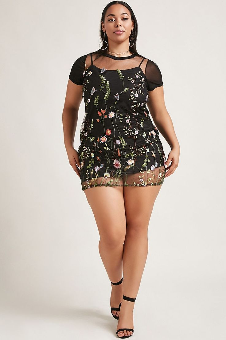 Forever 21+ - A semi-sheer mesh mini dress featuring ornate floral embroidery throughout, a round neckline, short sleeves, an interior satin slip with cami straps, and a back zip closure. This item runs small, please size up.<p>- This is an independent brand and not a Forever 21 branded item.</p>