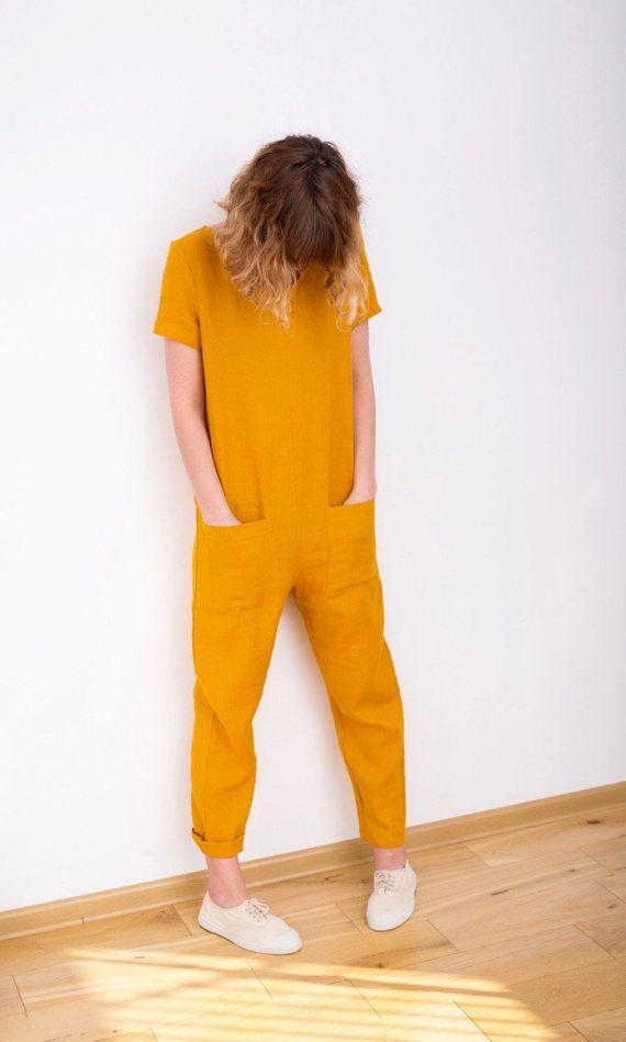 Mustard Linen Jumpsuit Short Sleeve Jumpsuit Women by OffOn
