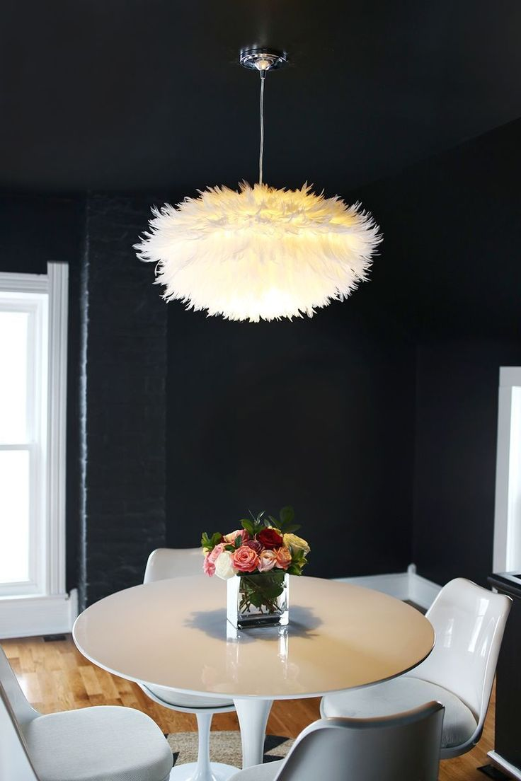 Feather Your Nest! • DIY ideas and tutorials for using feathers in your home decorating, like this DIY feather pendant light by 'A Beautiful Mess'!