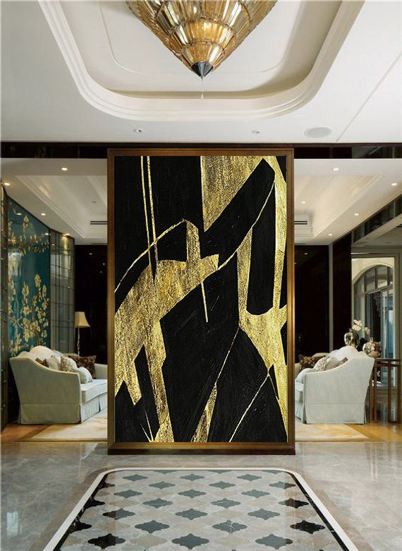 Custom size available. Original wall art. Gold leaf and acrylic on canvas. Extra large modern oversized minimalist huge abstract painting