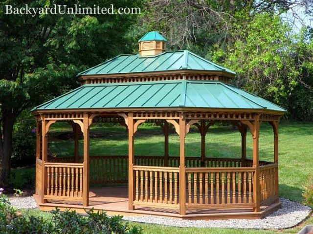 14 39 x20 39 new england style wood oval gazebo with standing seam metal pagoda roof cupola and. Black Bedroom Furniture Sets. Home Design Ideas