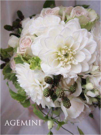 ダリアとブラックベリーのウェディングブーケ Wedding bouquet - AGEMINI
