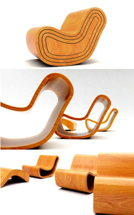 Magic Chair by Puur Design Studio. Designed by Dripta Roy, this four part chair works off a similar principle to the Russian nesting dolls. With their slightly diminishing sizes each layer nestles perfectly in the next to create one seamless bentwood chair. When undone, the user is left with three individual chairs with the inner most layer acting as a foot stool. #pin_it #DIY #wood #furniture @Mundo das Casas www.mundodascasas.com.br