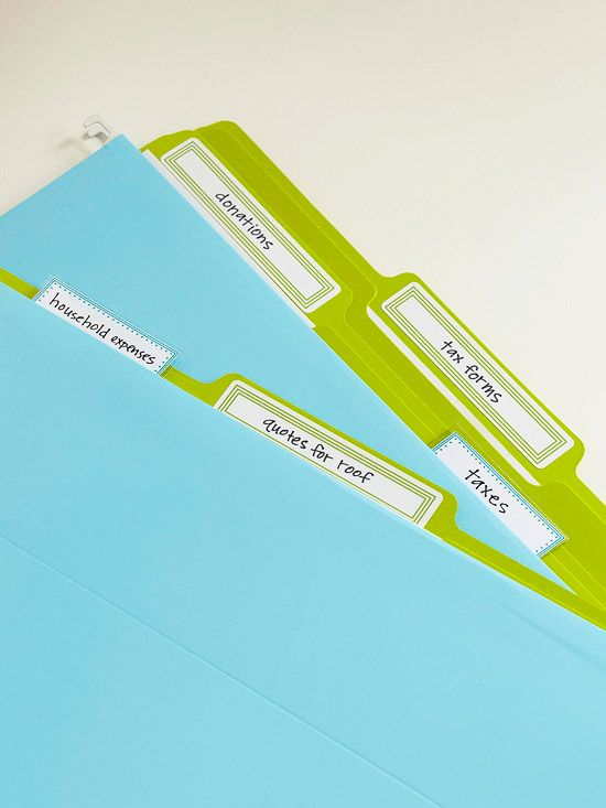 File Folders- Make managing paperwork less of a hassle. Store important notes and documents in brightly colored file folders with color-coordinated labels. Print the file folder labels on adhesive labels and the file tab labels on heavy cardstock or matte photo paper.