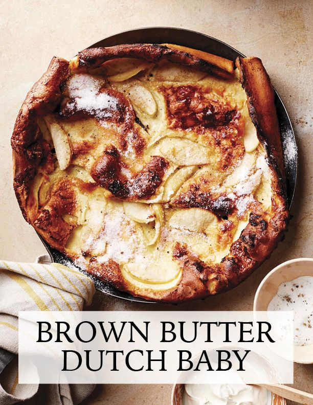 Apple-Cardamom Brown-Butter Dutch Baby | Martha Stewart Living - Nutty brown butter is the best companion to one of the most impressive breakfast foods you can make at home, the Dutch baby. Also called a German pancake, this delight puffs up to great heights while cooking, with the sides climbing and then reaching out over the edges of the pan. The butter carries the spicy flavor of the cardamom through to each bite, warming up each wedge of cooked apple.