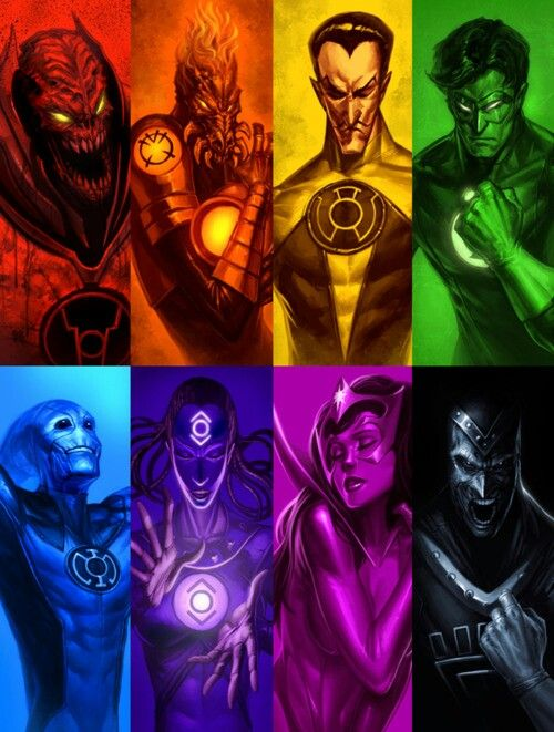 All the lantern cores. I think I would be either Red or Blue. Red for rage and Blue for the hope of the future