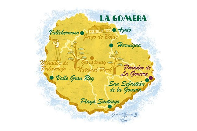 La Gomera map- Canary Islands. From CN Traveller Magazine