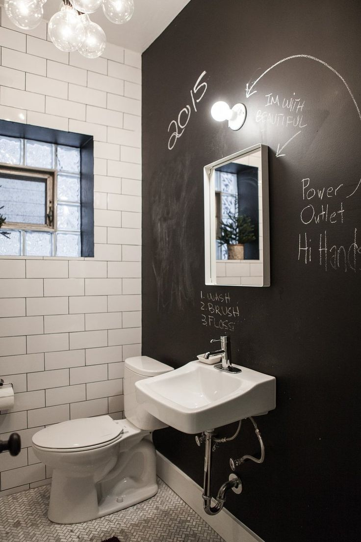 What about a chalkboard accent wall in a bathroom--paired with some plants to add color and a nice organic contrast