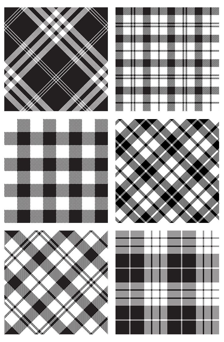 Black and white vector patterns texture. Tartan plaid wallpaper patterns. Scottish tartan plaid kilts. Fabric patterns texture design. Textile pattern classic fabrics. Seamless pattern texture. Seamless vector patterns. Stock vector illustrations.