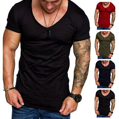 Fashion Men/'s Casual Short Sleeve Shirts Sports Gym Slim Fit Tops Blouse T-Shirt