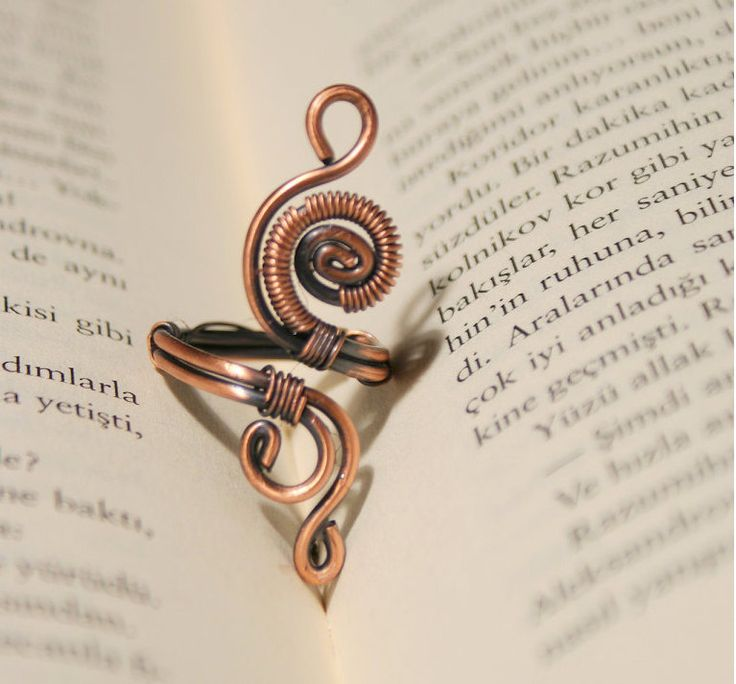wire ring jewelry-copper ring-adjustable wire by BeyhanAkman
