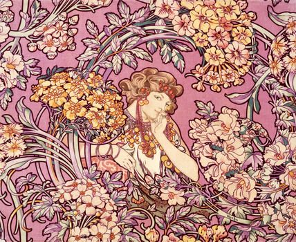 Design for a velveteen, by Alphonse Mucha                                                                                                                                                                                 More