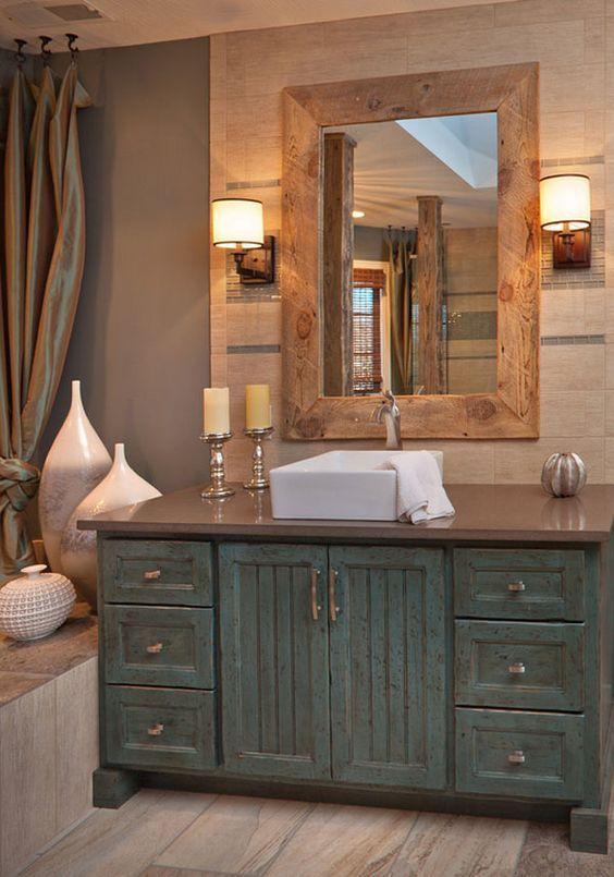 25+ wunderschöne Bauernhaus-Stil verwitterte Holz Badezimmer Eitelkeit Ideen