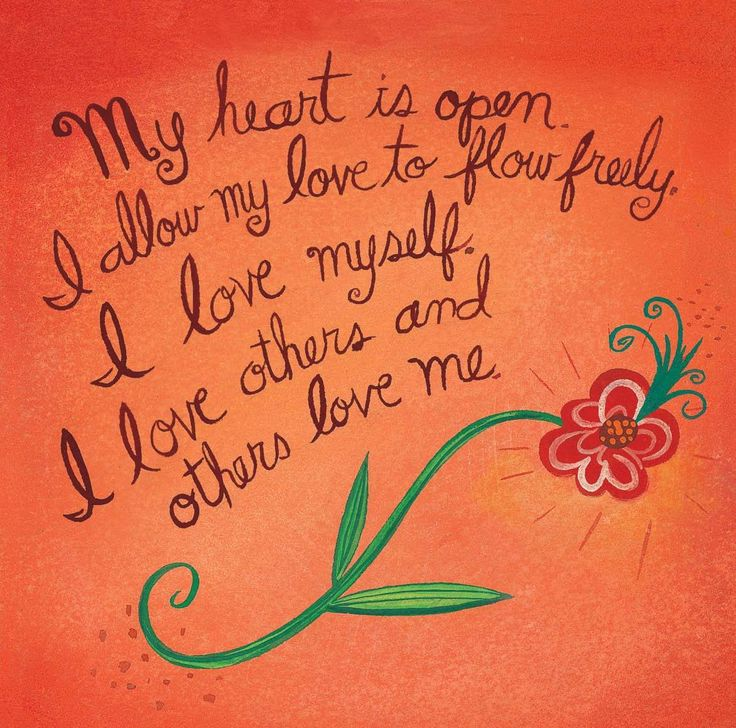 Hay House Daily Affirmations My heart is open, I allow my love to flow freely. From Louise Hay's Power Thought Cards. Find the details here: http://www.hayhouse.com/power-thought-cards-a-64-card-deck