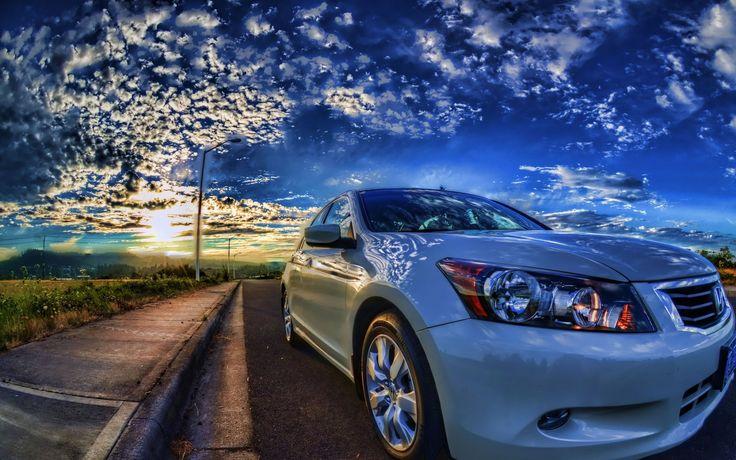 壮大な夕日の路上でホンダアコード 車 高解像度で壁紙