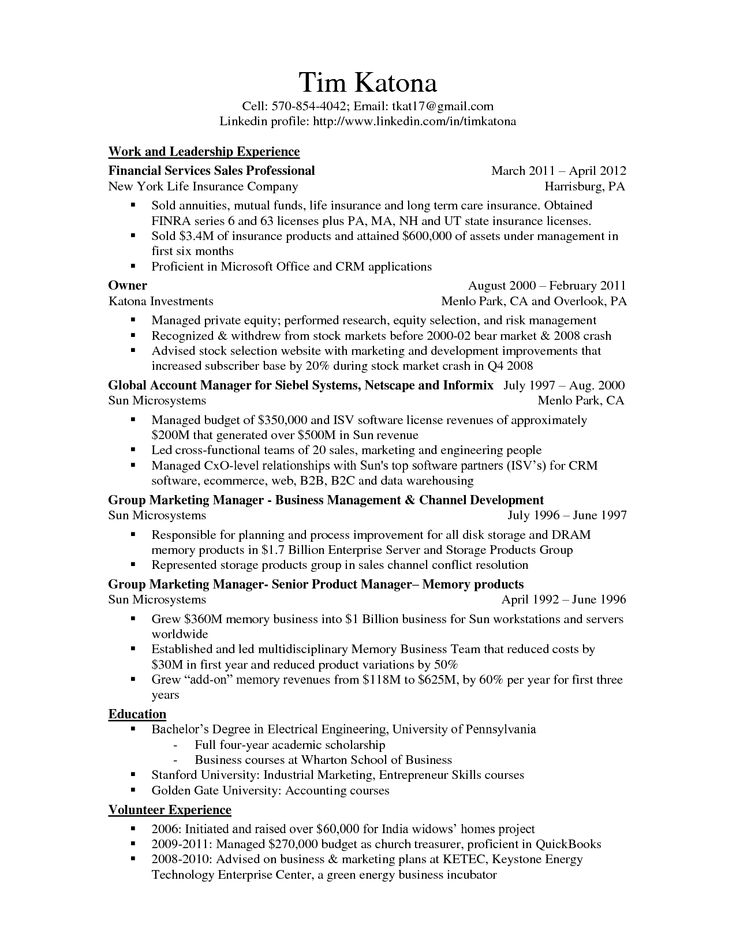 life insurance resume template - Bing Images Employment - linkedin resume template